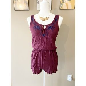 Cape Juby Burgundy Embroidered Romper